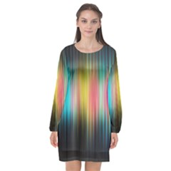 Sound Colors Rainbow Line Vertical Space Long Sleeve Chiffon Shift Dress