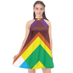 Triangle Chevron Rainbow Web Geeks Halter Neckline Chiffon Dress