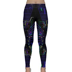 Seamless 3d Animation Digital Futuristic Tunnel Path Color Changing Geometric Electrical Line Zoomin Classic Yoga Leggings by Mariart