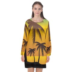 Sunset Summer Long Sleeve Chiffon Shift Dress  by Mariart