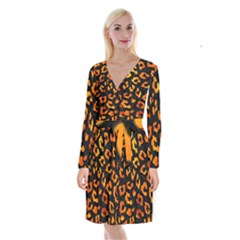 Skin5 Black Marble & Fire (r) Long Sleeve Velvet Front Wrap Dress by trendistuff