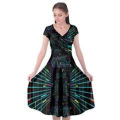 Seamless 3d Animation Digital Futuristic Tunnel Path Color Changing Geometric Electrical Line Zoomin Cap Sleeve Wrap Front Dress by Mariart