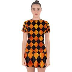 Square2 Black Marble & Fire Drop Hem Mini Chiffon Dress by trendistuff
