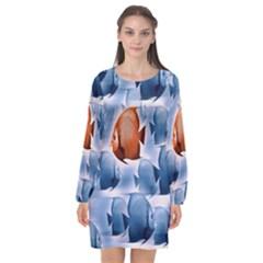 Swim Fish Long Sleeve Chiffon Shift Dress