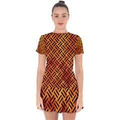 Woven2 Black Marble & Fire (r) Drop Hem Mini Chiffon Dress by trendistuff