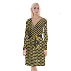 Circles3 Black Marble & Gold Foil Long Sleeve Velvet Front Wrap Dress by trendistuff
