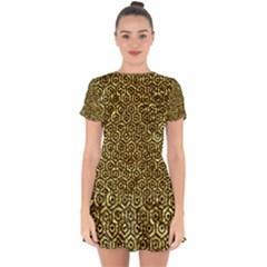 Hexagon1 Black Marble & Gold Foil (r) Drop Hem Mini Chiffon Dress by trendistuff