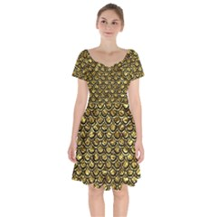 Scales2 Black Marble & Gold Foil (r) Short Sleeve Bardot Dress by trendistuff