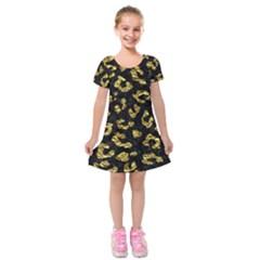 Skin5 Black Marble & Gold Foil (r)skin5 Black Marble & Gold Foil (r) Kids  Short Sleeve Velvet Dress by trendistuff