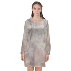 Marbled Structure 5a Long Sleeve Chiffon Shift Dress  by MoreColorsinLife