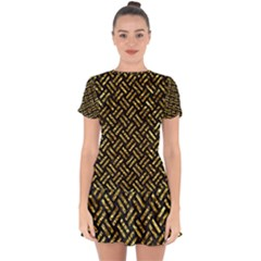 Woven2 Black Marble & Gold Foil Drop Hem Mini Chiffon Dress by trendistuff