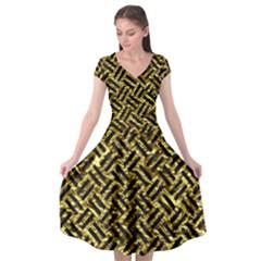 Woven2 Black Marble & Gold Foil (r) Cap Sleeve Wrap Front Dress by trendistuff