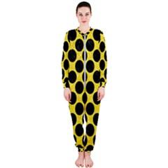Circles2 Black Marble & Gold Glitter (r) Onepiece Jumpsuit (ladies)  by trendistuff