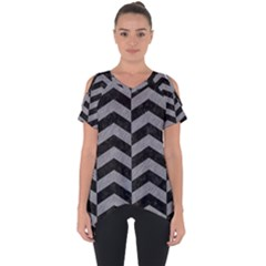 Chevron2 Black Marble & Gray Colored Pencil Cut Out Side Drop Tee by trendistuff