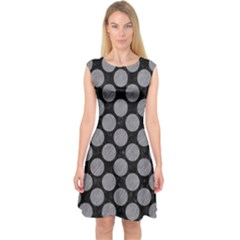 Circles2 Black Marble & Gray Colored Pencil Capsleeve Midi Dress by trendistuff