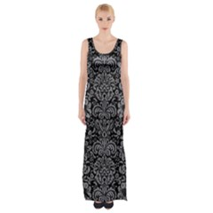 Damask2 Black Marble & Gray Colored Pencil Maxi Thigh Split Dress by trendistuff