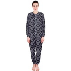 Hexagon1 Black Marble & Gray Colored Pencil (r) Onepiece Jumpsuit (ladies)  by trendistuff