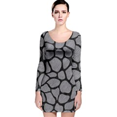 Skin1 Black Marble & Gray Colored Pencil Long Sleeve Velvet Bodycon Dress by trendistuff