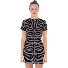 Skin2 Black Marble & Gray Colored Pencil Drop Hem Mini Chiffon Dress by trendistuff