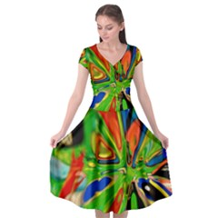 Acrobat Wormhole Transmitter Monument Socialist Reality Rainbow Cap Sleeve Wrap Front Dress