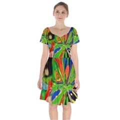 Acrobat Wormhole Transmitter Monument Socialist Reality Rainbow Short Sleeve Bardot Dress