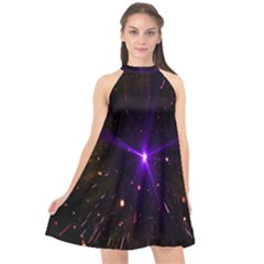Animation Plasma Ball Going Hot Explode Bigbang Supernova Stars Shining Light Space Universe Zooming Halter Neckline Chiffon Dress  by Mariart