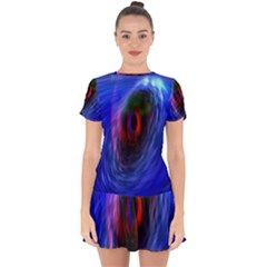 Black Hole Blue Space Galaxy Drop Hem Mini Chiffon Dress