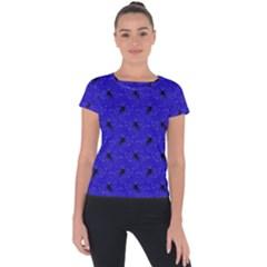 Unicorn Pattern Blue Short Sleeve Sports Top