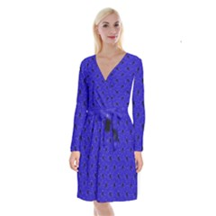 Unicorn Pattern Blue Long Sleeve Velvet Front Wrap Dress by MoreColorsinLife
