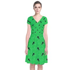 Unicorn Pattern Green Short Sleeve Front Wrap Dress by MoreColorsinLife