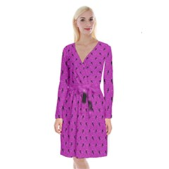 Unicorn Pattern Pink Long Sleeve Velvet Front Wrap Dress by MoreColorsinLife