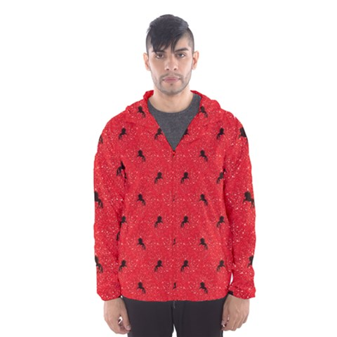 Unicorn Pattern Red Hooded Wind Breaker (men)