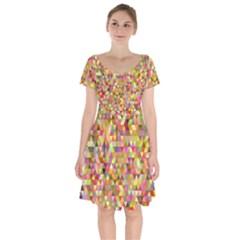 Multicolored Mixcolor Geometric Pattern Short Sleeve Bardot Dress by paulaoliveiradesign