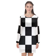 Grid Domino Bank And Black Long Sleeve Chiffon Shift Dress  by Nexatart