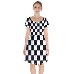Grid Domino Bank And Black Short Sleeve Bardot Dress