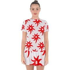 Star Figure Form Pattern Structure Drop Hem Mini Chiffon Dress