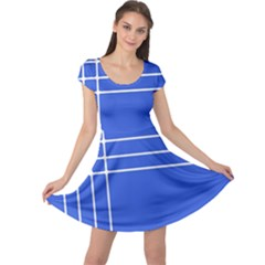 Stripes Pattern Template Texture Blue Cap Sleeve Dress