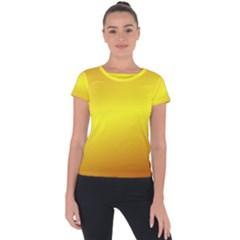 Gradient Orange Heat Short Sleeve Sports Top  by Nexatart