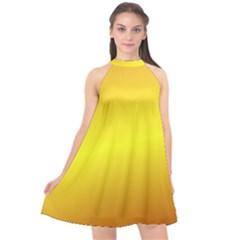 Gradient Orange Heat Halter Neckline Chiffon Dress  by Nexatart