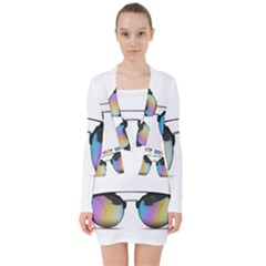Sunglasses Shades Eyewear V Neck Bodycon Long Sleeve Dress by Nexatart