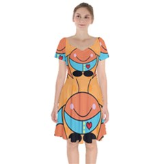 Crab Sea Ocean Animal Design Short Sleeve Bardot Dress by Nexatart