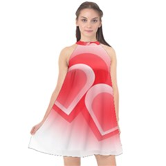 Heart Love Romantic Art Abstract Halter Neckline Chiffon Dress