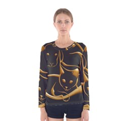 Gold Dog Cat Animal Jewel Dor¨| Women s Long Sleeve Tee by Nexatart