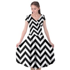 Wave Background Fashion Cap Sleeve Wrap Front Dress by Nexatart