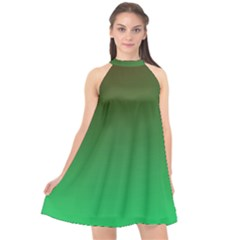 Course Colorful Pattern Abstract Green Halter Neckline Chiffon Dress  by Nexatart