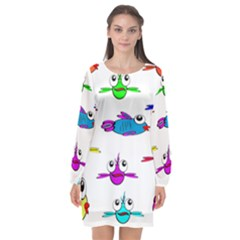 Fish Swim Cartoon Funny Cute Long Sleeve Chiffon Shift Dress