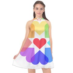 Heart Love Romance Romantic Halter Neckline Chiffon Dress  by Nexatart