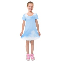 Sky Cloud Blue Texture Kids  Short Sleeve Velvet Dress