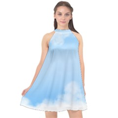 Sky Cloud Blue Texture Halter Neckline Chiffon Dress  by Nexatart