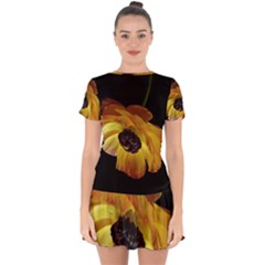 Ranunculus Yellow Orange Blossom Drop Hem Mini Chiffon Dress by Nexatart
